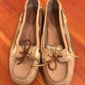 Sperry Topsiders tan and gold